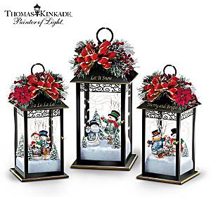 Thomas Kinkade Illuminated Snowman Lantern Collection