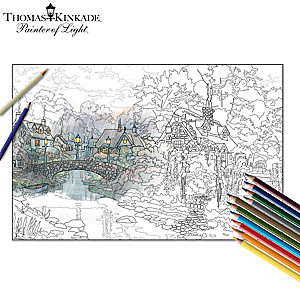 Thomas Kinkade Adult Colouring Kit Collection With Pencils