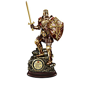 Religious Knight Sculpture Collection With Challenge Coins