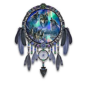 James Meger Aurora Borealis Wolf Art Dreamcatcher Collection
