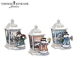 Thomas Kinkade Illuminated Snowmen Lantern Collection
