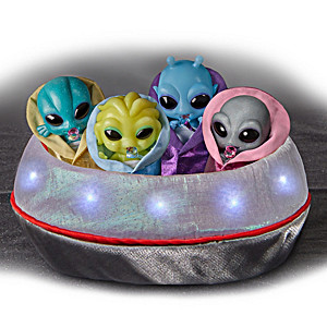 Miniature Alien Silicone Baby Collection With UFO Display