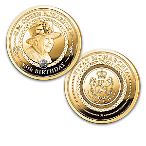 Queen Elizabeth II Proof Coin Collection Plated In 24K Gold