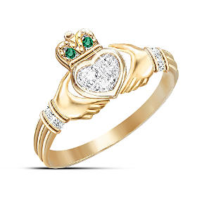 Diamond And Emerald Claddagh Ring