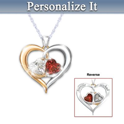 Personalized Pendant With Genuine Garnet And White Topaz by
