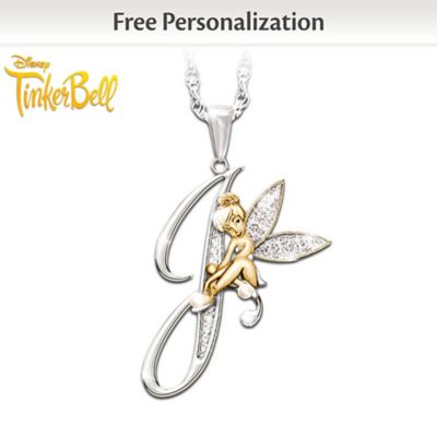 c23ee44c5 Crystal Pendant Of Your Initial And Tinker Bell