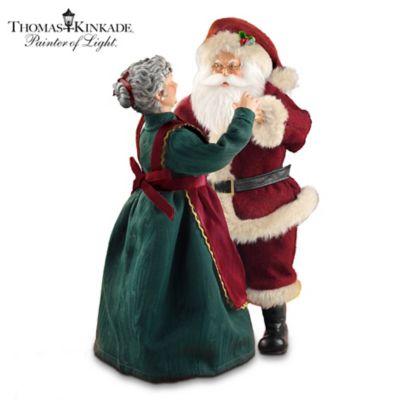 Thomas Kinkade Dancing Santa Musical Figurine by