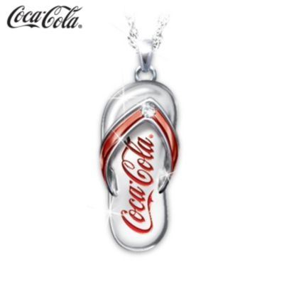 Coca-Cola Diamond Flip Flop Engraved Pendant Necklace