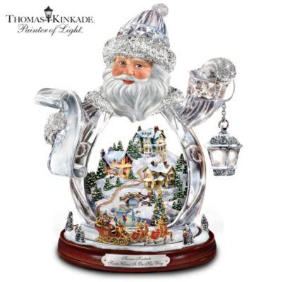 Thomas Kinkade Crystal 3D Santa Claus Figurine by