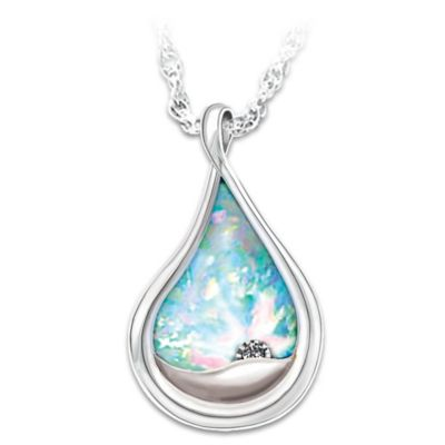 Diamond and created opal engraved pendant necklace i am with you mozeypictures Gallery