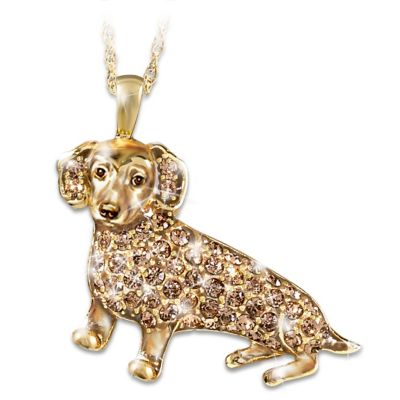 Best In Show Dog Lovers Dachshund Crystal Pendant Necklace