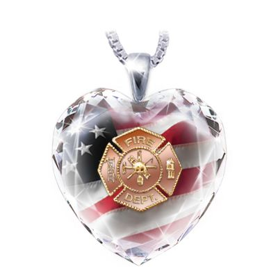 Firefighter Crystal Heart Pendant Necklace by