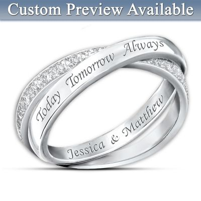 Sterling Silver Diamond Infinity Ring Today Tomorrow And Always