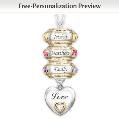 Personalized Birthstone Roundel Pendant With Up To 6 Names by
