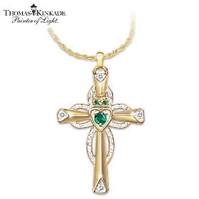 Thomas Kinkade Emerald & Diamond Claddagh Pendant Necklace