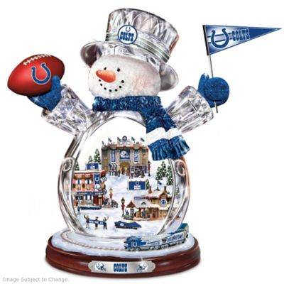 Indianapolis Colts Crystal Snowman with Moving Train by