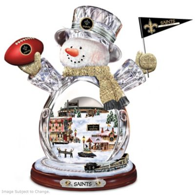 New Orleans Saints Snowman With Lighted Village by