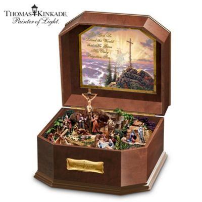 Religious Music Box With 5 Fully Sculpted Inspiring Scenes by