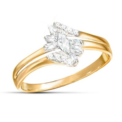 Solid 10K Gold Ring With 15 Diamonds In 3 Different Cuts by