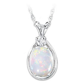 Shimmering Elegance Opal And Diamond Pendant Necklace