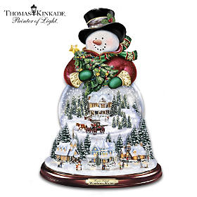 Thomas Kinkade Wondrous Winter Snowman Snowglobe