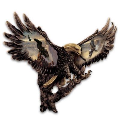 Ted Blaylock Cold-Cast Bronze Bald Eagle Wall Sculpture by