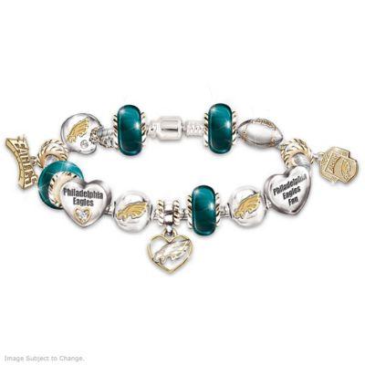 Philadelphia Eagles Charm Bracelet With Swarovski Crystals by