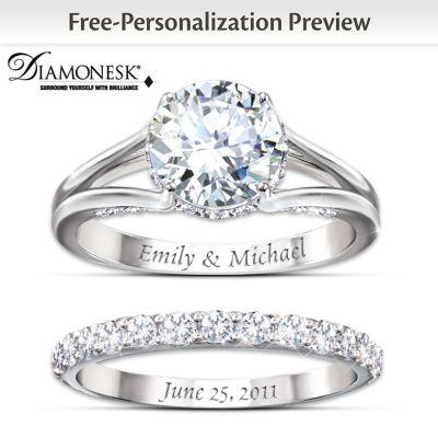 diamonesk personalized engagement ring and wedding band set. Black Bedroom Furniture Sets. Home Design Ideas