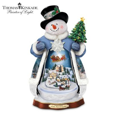 Thomas Kinkade Snowman With Lights, Music And Motion by
