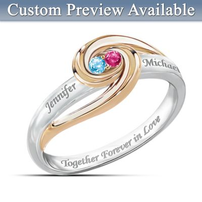 Together Forever In Love Personalized Birthstone Ring