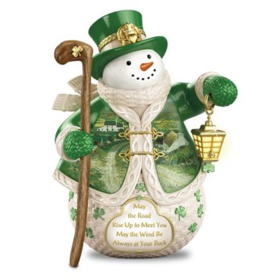 Edmund Sullivan Irish Art Snowman With Illuminated Lantern by