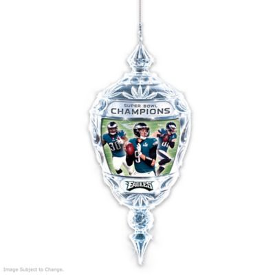 Eagles Super Bowl LII Champions Crystal Christmas Ornament by