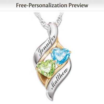 kaleidoscope birthstone personalized necklace silver pendant