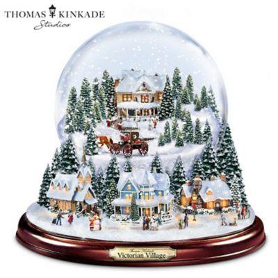 Christmas Snowglobes.Thomas Kinkade Holiday Village Illuminated Musical Snowglobe