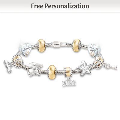 Personalized 10-Charm Bracelet With Crystals For Graduates by
