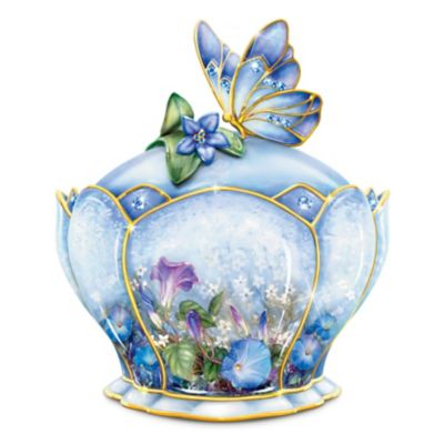 Lena Liu Porcelain Jeweled Music Box With Butterfly Handle by