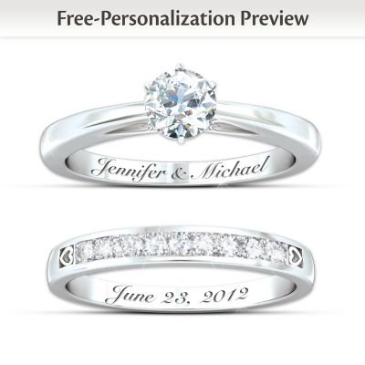 Personalized Womens Diamond Bridal Ring Set Our Forever Love