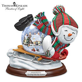 Thomas Kinkade Sledding Into The Season Snowglobe