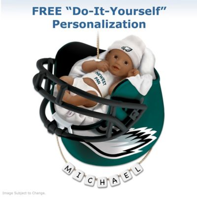 Eagles Personalized African-American Baby Christmas Ornament by
