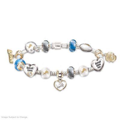 Detroit Lions Charm Bracelet With Swarovski Crystals by