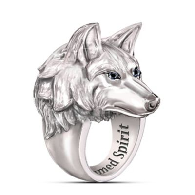 Men's Stainless Steel Wolf Ring With Black Sapphire Eyes by