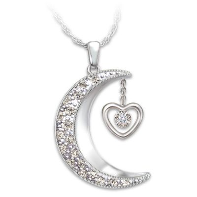 Moon Shaped Diamond Pendant Necklace I Love You To The Moon And Back