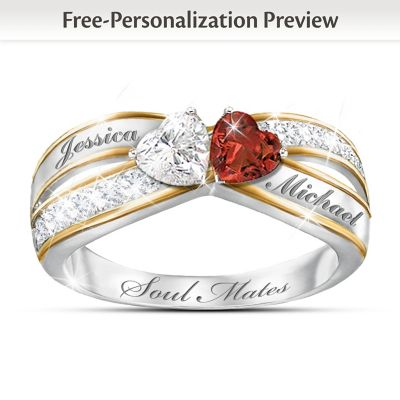 Two Hearts Become Soul Mates Topaz Garnet Engraved Ring