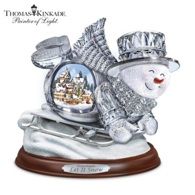 Thomas Kinkade Illuminated Musical Crystal Sledding Snowman by