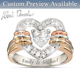 Heart Full Of Love Personalized White Topaz Ring