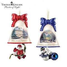 Thomas Kinkade Ringing In The Holidays Ornament Set: Set 3