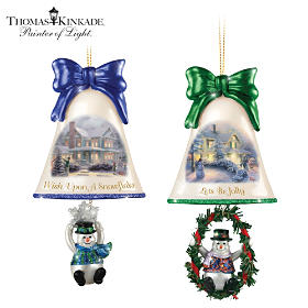 Thomas Kinkade Ringing In The Holidays Ornament Set: Set 4