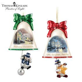 Thomas Kinkade Ringing In The Holidays Ornament Set: Set 5