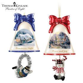 Thomas Kinkade Ringing In The Holidays Ornament Set: Set 6