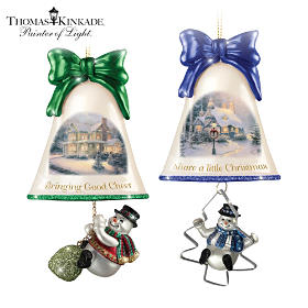 Thomas Kinkade Ringing In The Holidays Ornament Set: Set 7